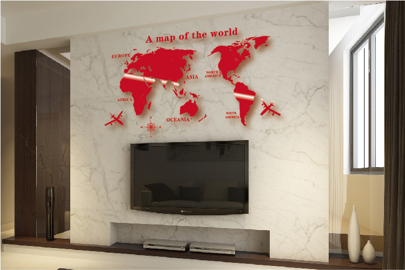 Wall art decal world map wall sticker globe earth wall decor for wall art decal world map wall sticker globe earth wall decor for kids room home diy mirror 3d acrylic self adhesive removable in wall stickers from home gumiabroncs Image collections