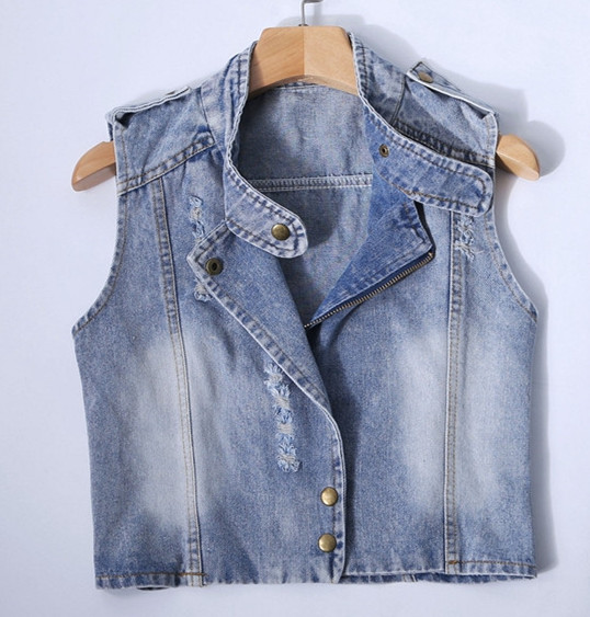 Online Buy Wholesale woman denim jacket without sleeves from China