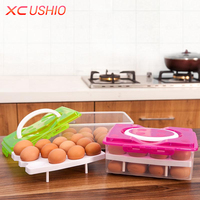 Double Layer Plastic Egg Box Kitchen Refrigerator 24 Grid Egg Container Storage Box Holder Case Food