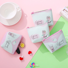 Lovely peach mini coin purse student card carry portable package admission girls pink purses