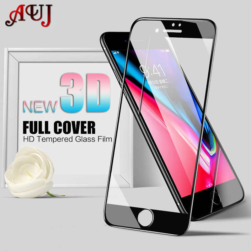 AUJ 3D Tempered Glass Protective Film For iPhone 6 6s 7 8 Plus 9H Hardness Full Cover Screen Protector For iPhone X Glass 2.5D image