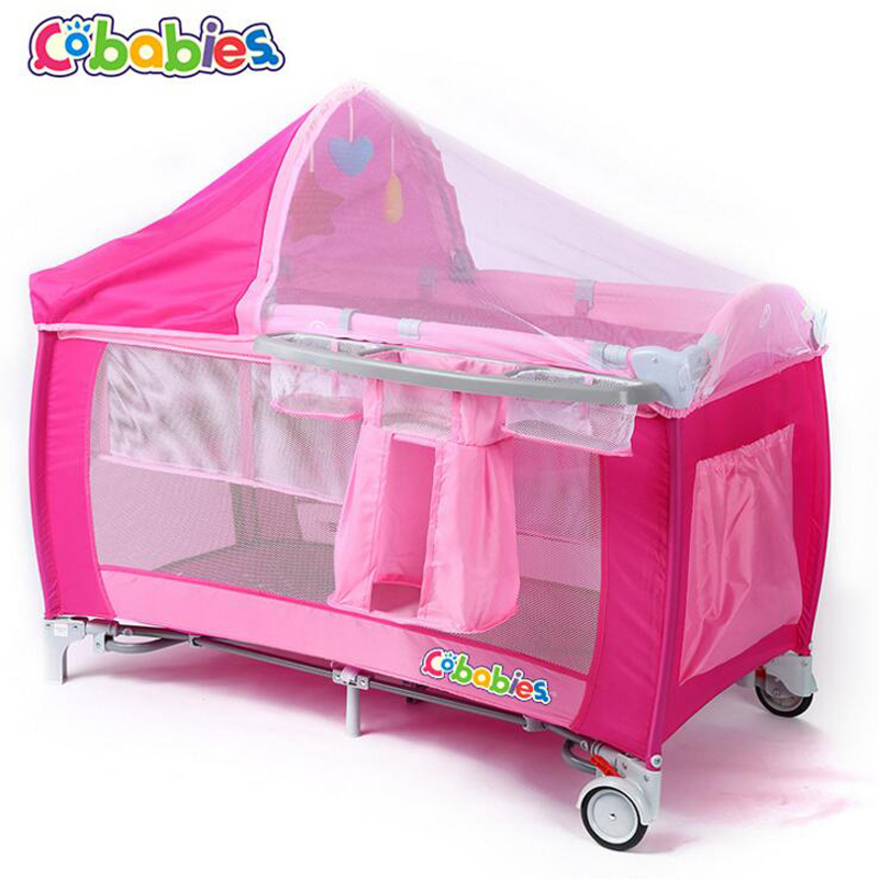 2017 New Portable Baby Crib Multi-functional Folding with Diapers Changing Table Travel Child Game Beds Super - bearing capacity