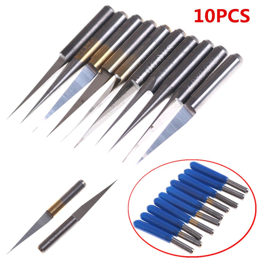 10Pcs 3.175mm Carbide PCB Engraving Bits CNC Router Tool 10 Degrees 0.1mm