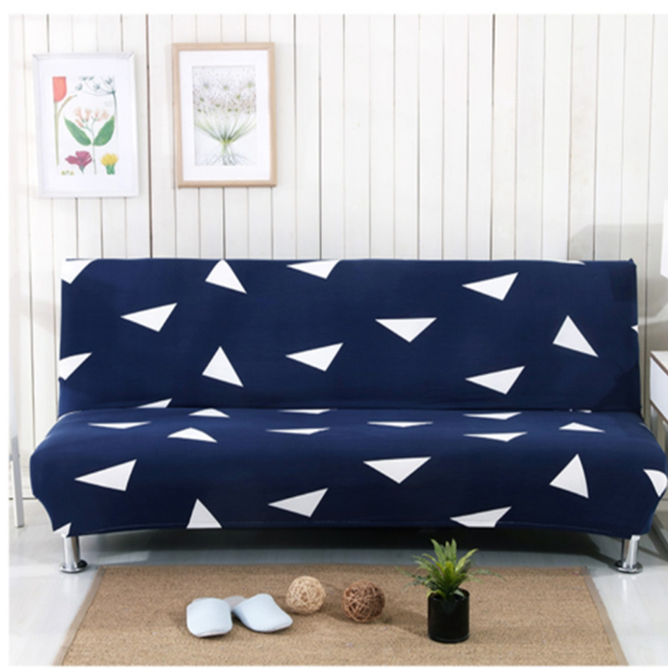 Deep Blue Universal Stretch No handrail Sofa Bed Cover For Living Room White Triangle Pattern Elastic Sofa Bed Slipcover/Cover