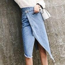A-Line Jeans Skirt For Female Asymmetrical High Waist Denim Skirt Women Summer Korean Casual Ripped Pocket Button Women's Skirt цены