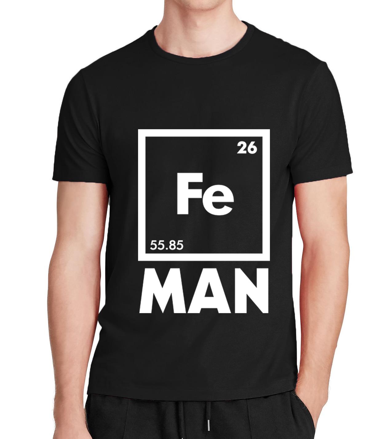 2016 funny FE MAN Iron Science font b Chemistry b font streetwear brand T Shirt men