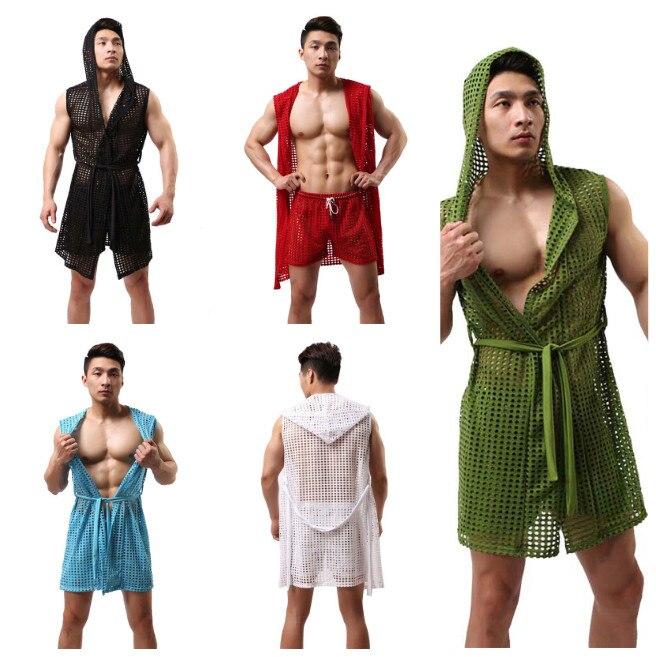 Sexy Lingerie Men Summer Fashion Bathrobe Man Home Sleepwear Cute See Through Net Sheer Clothing Fishnet Pajama Lounge Tops(China)
