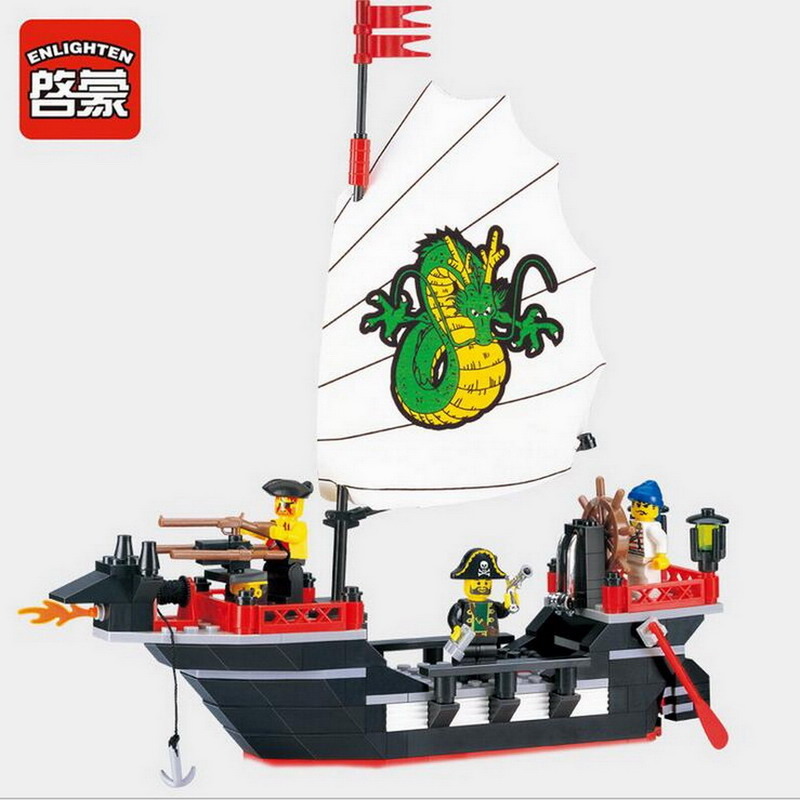 301 Enlighten Pirate Series Pirate Ship Dragon Boat Model Building Blocks DIY Action Figure Toys For Children Compatible Legoe pink floral pattern round neck long sleeves stitching t shirt