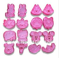 Free Shipping 16pcs Set Cartoon Cookie Cutter Pastry Decorating Tools Food Grade Resin Material