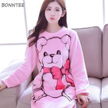 d0869c90a9 BONNTEE Nightgowns Cartoon Thicken Winter Kawaii Warm Coral Fleece Soft Long  Sleeve