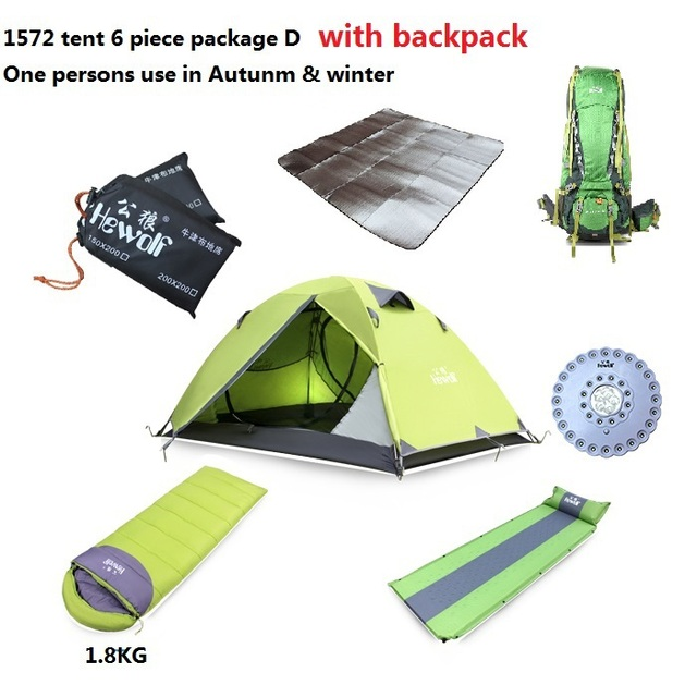 Free Shipping One Person Air Mattress Sleeping Bag Tent Lamp Camping 7 Piece With Backpack
