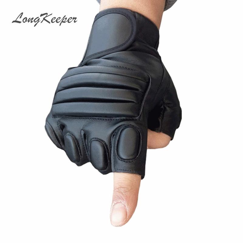 LongKeeper Mens Black Gloves Fingerless Leather Glove Army ...