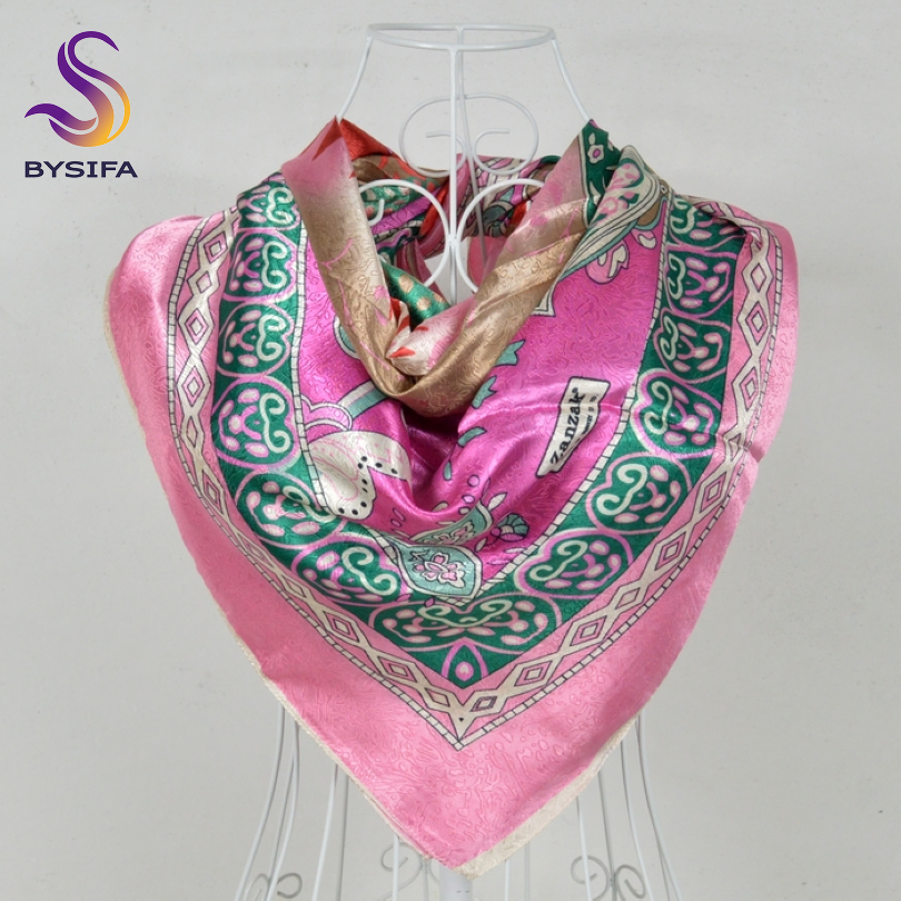 [BYSIFA] New Jacquard Square Scarves Wraps 110*110cm Fashion Apparel Accessories Luxury Silk Scarf Shawl Muslim Head Scarf Cape