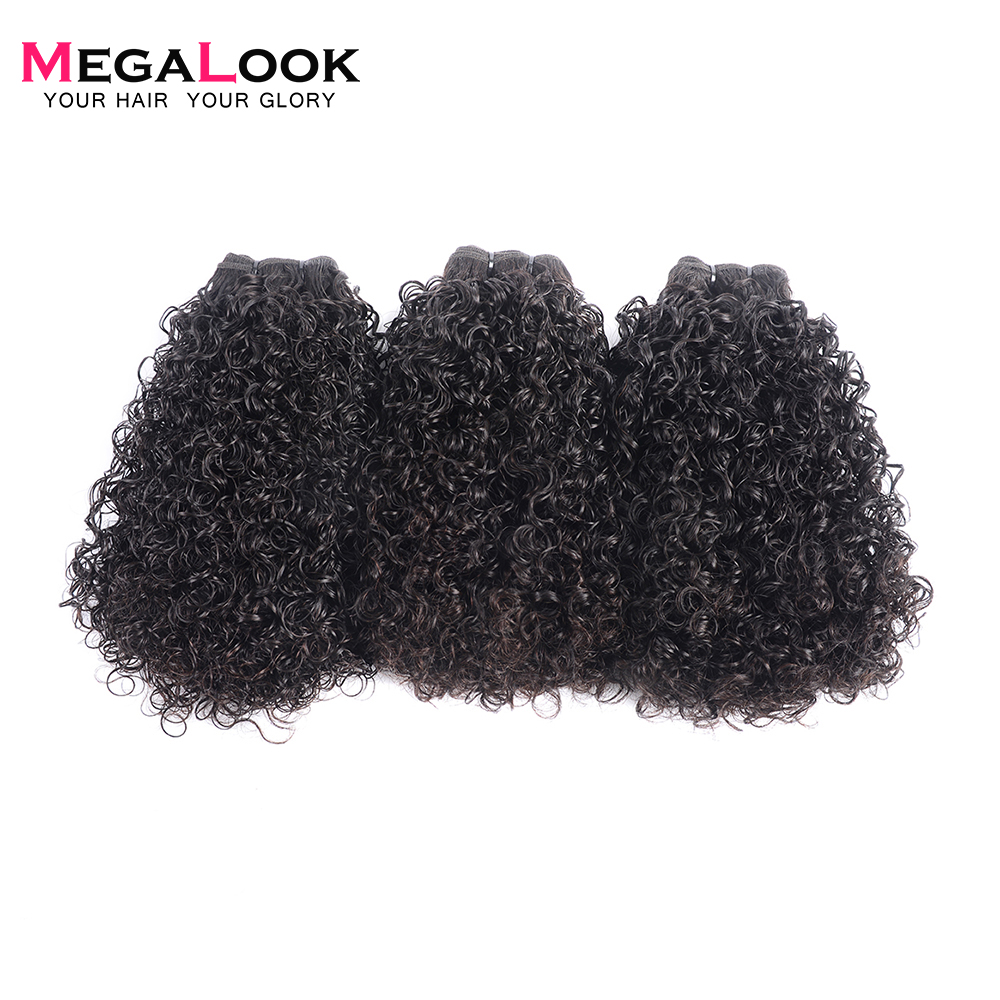 Megalook Human Hair 3 Bundles With Frontal Closure Plucked with Baby Hair Double Telephone Curl 13X4