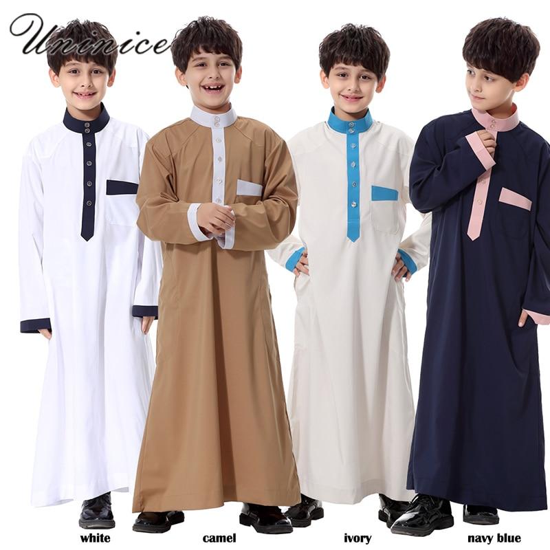 Arab Clothing Men Boy's Isamic Prayer Clothing Robe Musulmane Middle East Abaya Ramadan Patchwork Kaftan Muslim Men Thobes