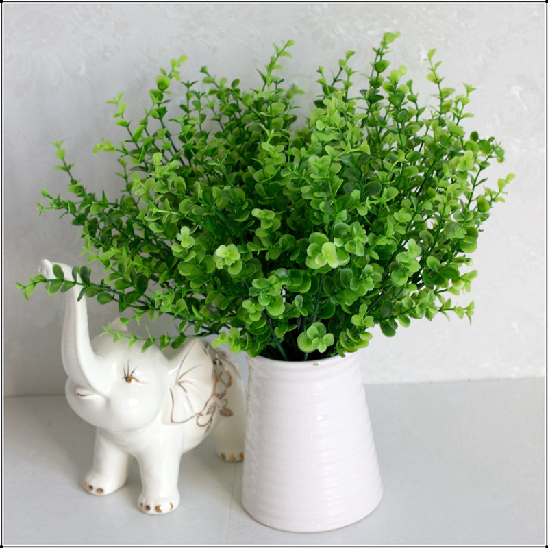 7 веток/Букет искусственных цветов, зеленая трава эвкалипта, искусственные растения, свадебное украшение, домашнее украшение