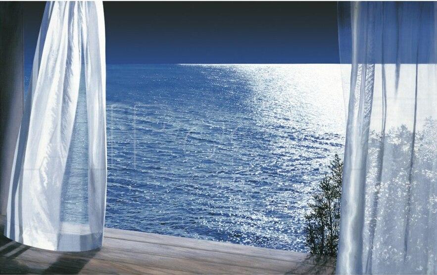 Art décoratif vue Nocturne d'outre-mer par Alice Dalton peinture marron haute qualité Photo sur toile paysage peint à la main