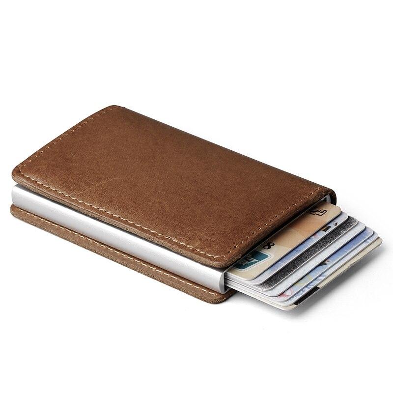 Männer Blockieren Rfid Brieftasche Mini 100% Echtem Leder Business Aluminium Kreditkarte Halter Geldbörse Automatische Pop Up Karte Fall