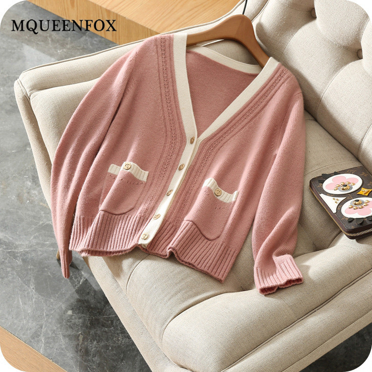 New cashmere cardigan women 2019 autumn short cashmere cardigan female outwear soft long sleeve Sweater Cardigans V neck Jacket