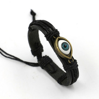 Unsex Men S Bracelet Wholesale Retro Punk Leather Bracelet Men S Black Leather Turkey Green Eye