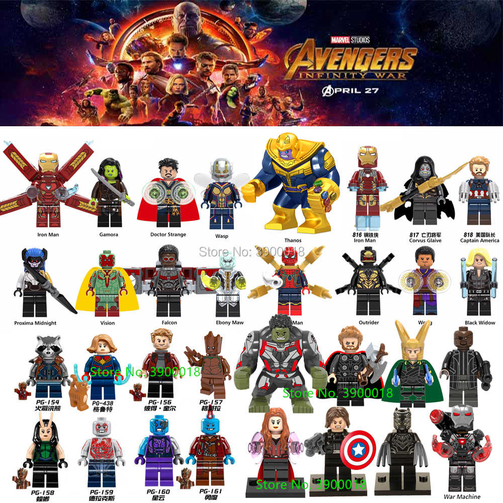 32Pcs Marvel Avengers Infinity Wars Endgame Machine Thanos Iron Spider Man Black Widow Set Building Blocks Toys For children