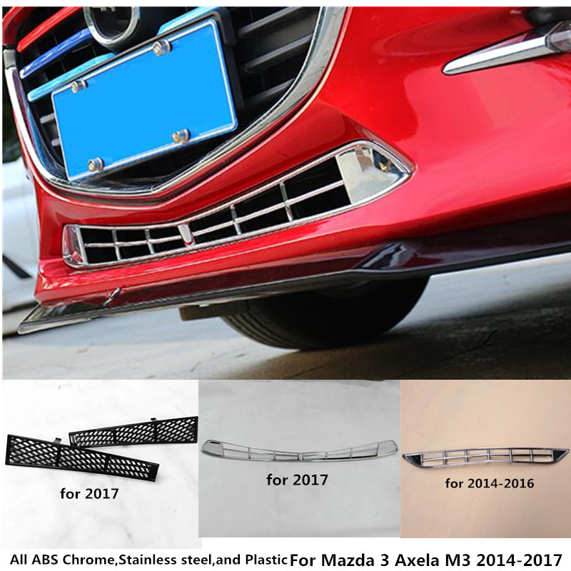 For Mazda 3 Axela M3 2014 2015 2016 2017 Car cover stick detector ABS chrome trim Front bottom racing Grid Grill Grille frame for mazda 3 axela hatchback sedan 2014 2015 2016 abs high quality air conditioning ac control switch cd panel cover trim 1 pcs