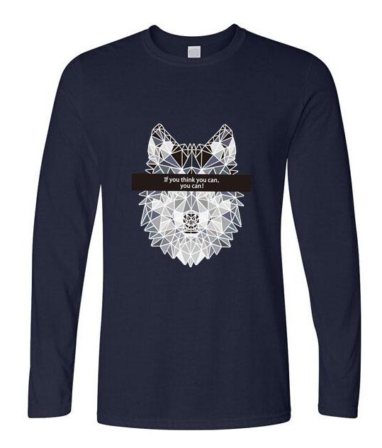 Clothing pinhe nova marca 2016 homens da moda de manga comprida t-shirt do lobo impressão engraçado camisetas homens hipstertops algodão t camisa