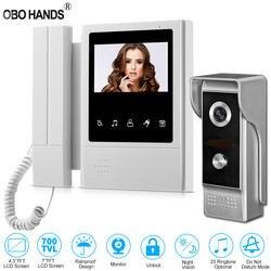"""4,3 """"TFT цветной Проводная видеодомофон дверной звонок Система для дома 700TVL ИК ночного видения наружная камера металлическая"""