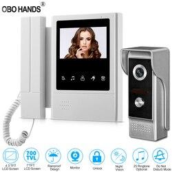 4,3 TFT цветной Проводная видеодомофон дверной звонок Система для дома 700TVL ИК ночного видения наружная камера металлическая водонепроницаем...