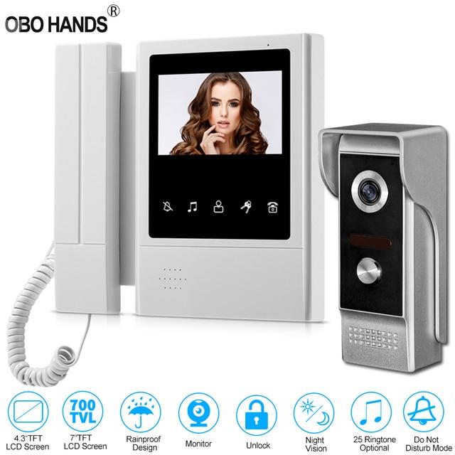 4,3 дюймовый TFT цветной проводной видеодомофон, система дверного звонка для дома 700TVL ИК ночного видения, наружная камера, металлическая водонепроницаемая