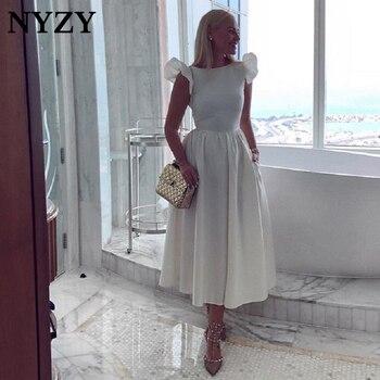 Elegant Cap Sleeves White Evening Dress Short 2019 NYZY C169 Satin Pocket Evening Gown Party Dress Robe Soiree Abendkleider