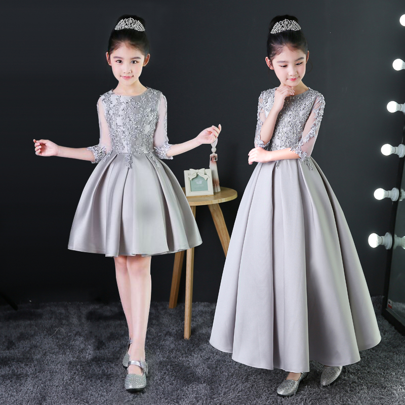 Silver Princess Dress Appliques Kids Girls Formal Dress Birthday Costume Hollow-out Sleeve Pleated Prom Party Dress Gown B74