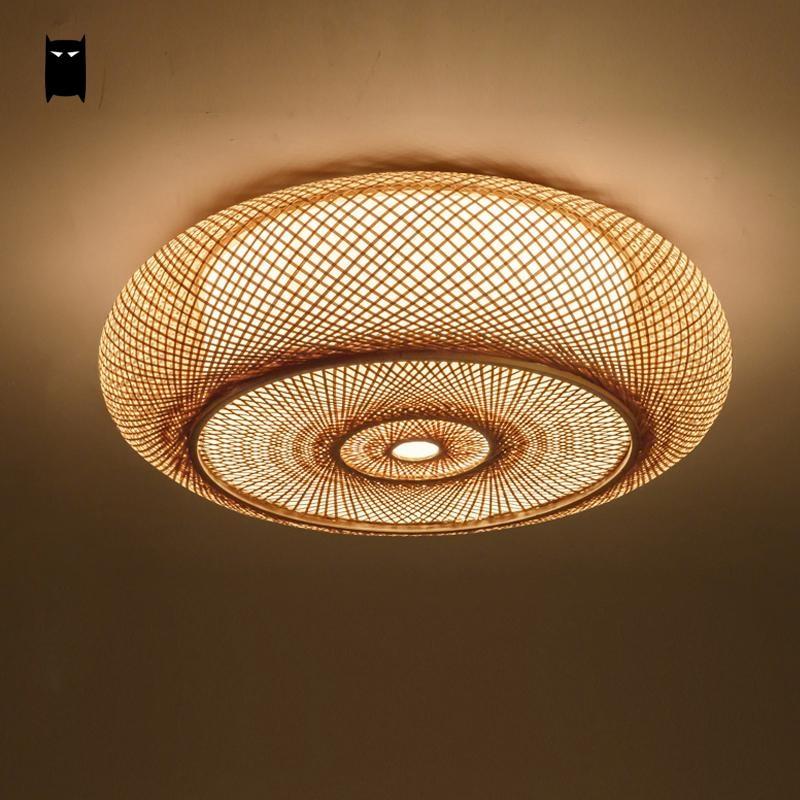 Hand woven Bamboo Wicker Rattan Round Lantern Shade Ceiling Light Fixture Rustic Asian Japanese