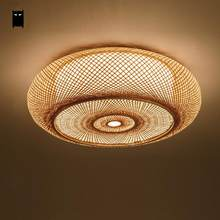 Hand Woven Bamboo Wicker Rattan Round Lantern Shade Ceiling Light Fixture Rustic Asian Anese Plafon Lamp Bedroom Living Room