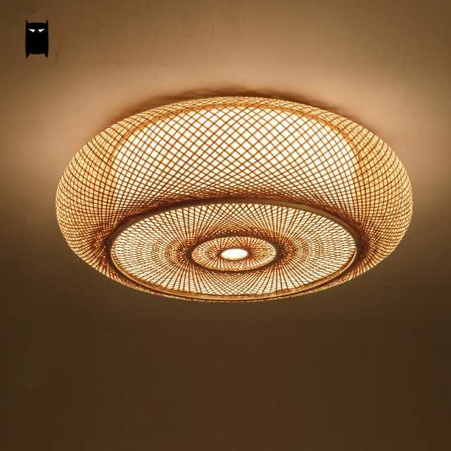official photos 4b64e 9a03b US $180.18 9% OFF|Hand woven Bamboo Wicker Rattan Round Lantern Shade  Ceiling Light Fixture Rustic Asian Japanese Plafon Lamp Bedroom Living  Room-in ...