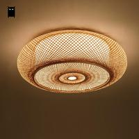 Hand woven Bamboo Wicker Rattan Round Lantern Shade Ceiling Light Fixture Rustic Asian Japanese Plafon Lamp Bedroom Living Room