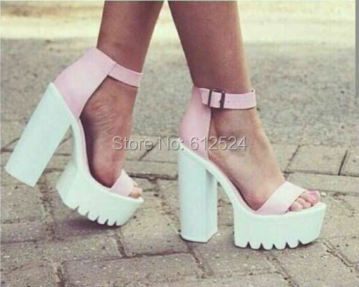 Pink Thick Heel Shoes