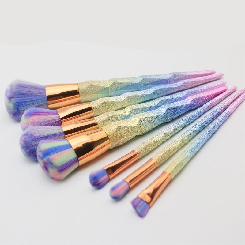 7PCS Makeup Brushes Diamond Makeup Brush Set Gradient Rainbow Dazzle Glitter Foundation Powder Eyeshadow Brush Beauty