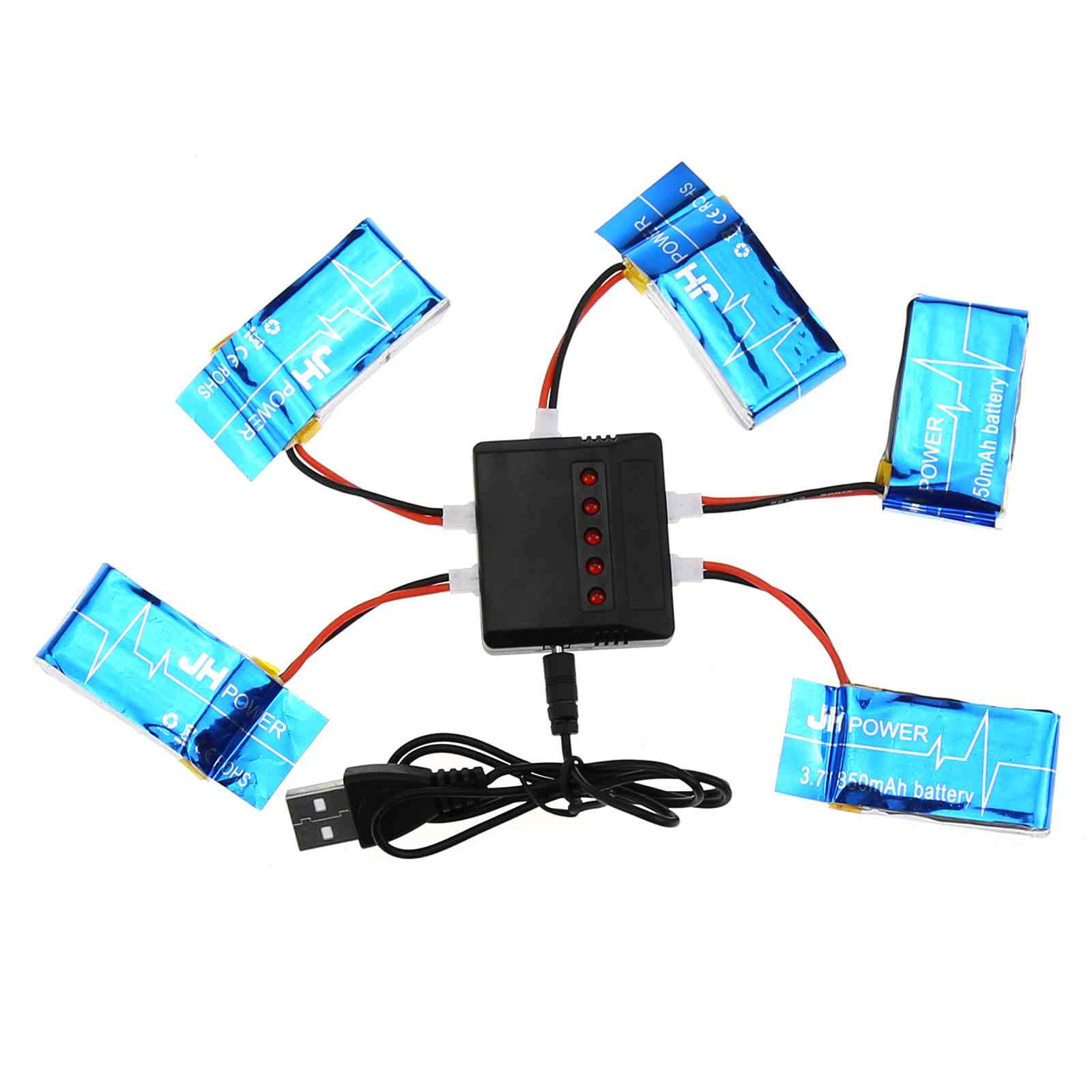5 in 1 Balance Charger 5 Spare Li Poly Batteries 3.7V 850 mAh for X5C-1/ X5SC / X5SW RC Drone QuadCopter