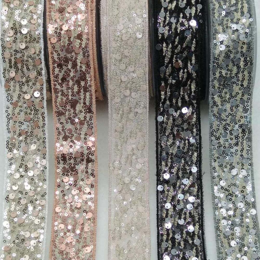 Mesh embroidery chaotic sequined ribbon bow diy jumper webbing accessories