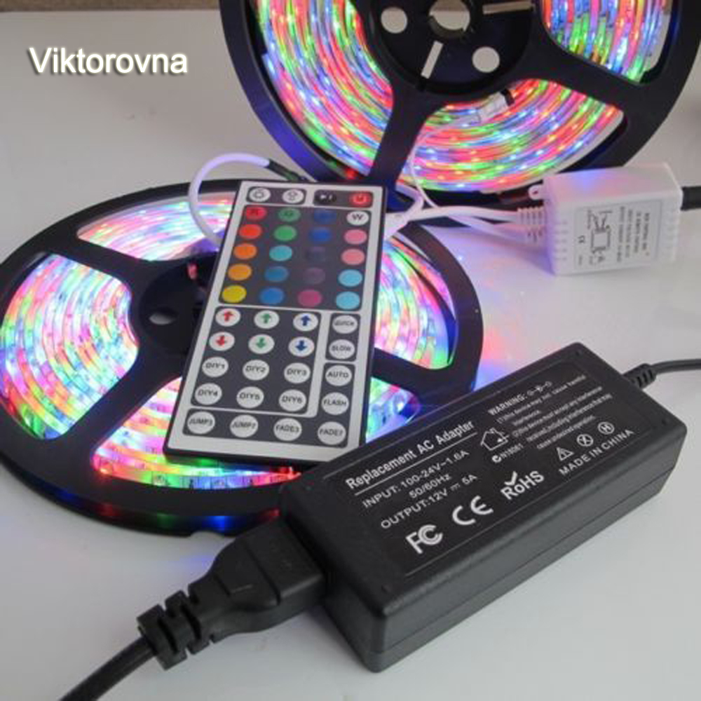 Waterproof LED RGB strip light SMD 3528 2835 Light 60LED/M diode ribbon tape lamp 5m 10m + remote controller + 12V Adapter Power 5m 10m rgb led strip 12v 60 leds m smd 2835 waterproof flexible tape ribbon colorful rope light string lamp led controller power