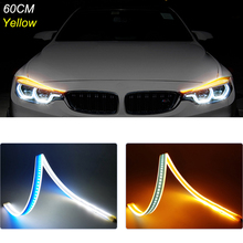 2pcs 60cm Car Daytime Running Lights Brake Turn Signal Lamp LED DRL Strip Light 12V Headlight For Kia Optima K5 K3