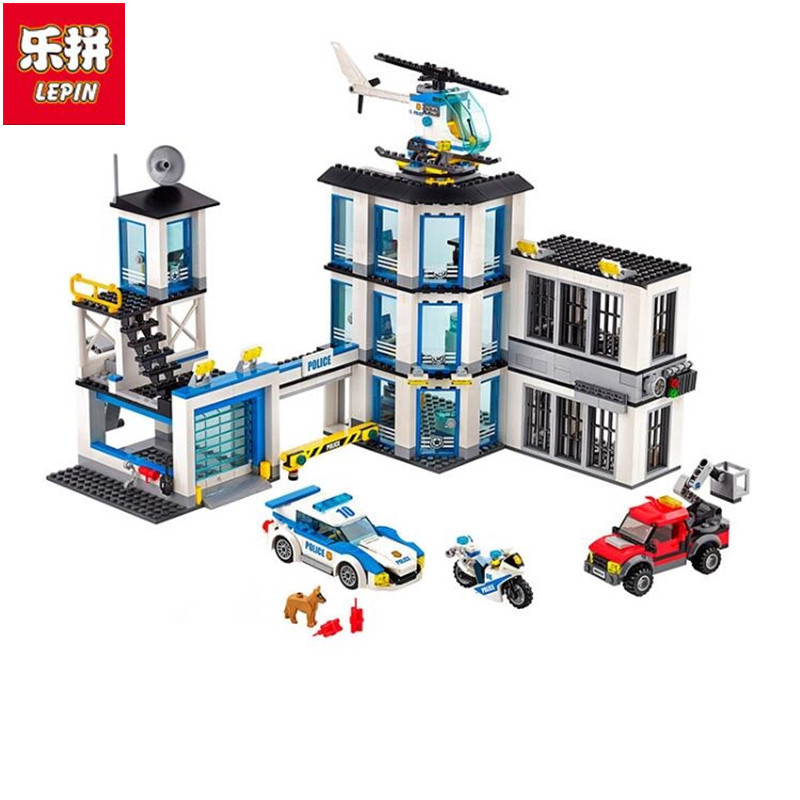 In Stock Lepin 02020 City Series The New Police Station Set children Educational Building Blocks Bricks Boy Toy Model Gift lepin 02012 774pcs city series deepwater exploration vessel children educational building blocks bricks toys model gift 60095