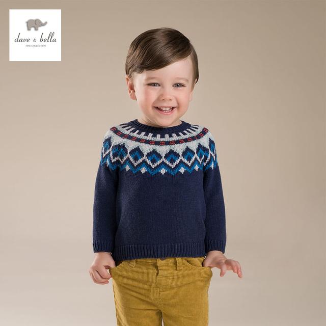 DB3605 davebella niño jacquard suéter de los niños del suéter azul marino