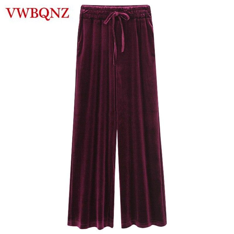 Spring Autumn Gold velvet   Wide     leg     pants   Women Casual Loose Trousers High waist Fashion Female Straight   Pants   Plus size M-6XL