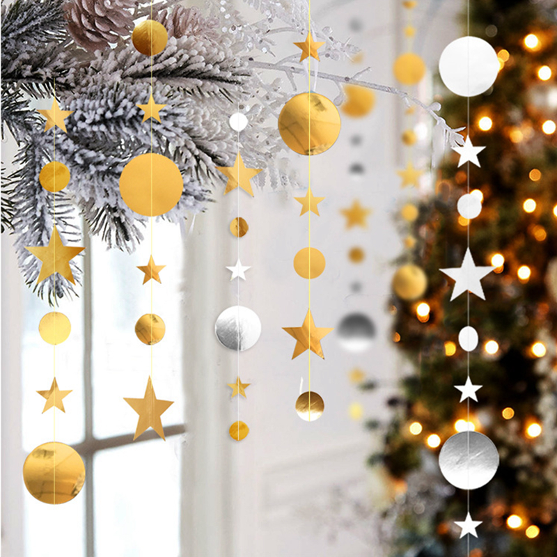 Image 4 - 4M Paper Garland Star Circle String Banners Wedding Banner Birthday Party Home Decoration Baby Shower Favors Party Bunting Flags-in Banners, Streamers & Confetti from Home & Garden