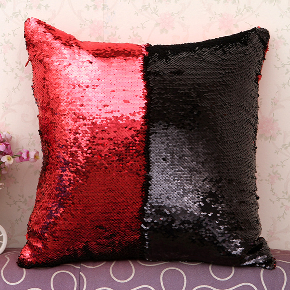 Image 5 - DIY Double Color Glitter fashion Sequins Throw Pillow Cover Sofa Bed Home Coffee Decoration 40cm*40cm Cushion Cover-in Cushion Cover from Home & Garden