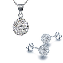 Crystal From Swarovski Wedding Jewelry Set 30% Plated Silver Shambhala Earring/Necklace For Romantic Women B018