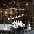 Merry Christmas Santa Claus window sticker DIY Vinyl Wall Stickers Elk Glass decorations for home Decor Art Decals Wallpaper