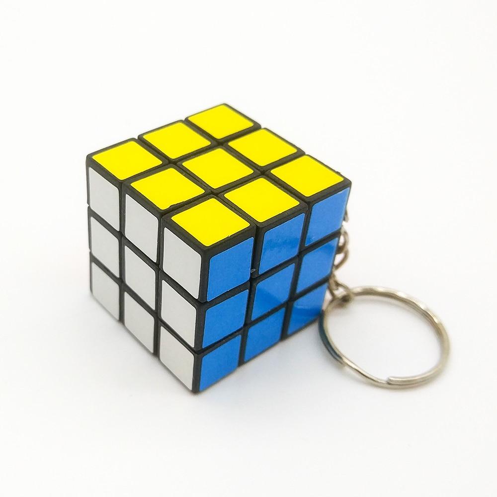 1pcs 3cm Mini Small Magic Cube Key Chain 3x3 Smart Cube Toy Creative Key Ring Decoration Antistress Puzzles Speed Cube toys(China)